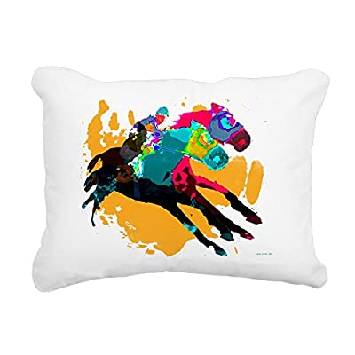 "CafePress - Horse Racing - 12""x15"" Rectangular Canvas Pillow, Decorative Throw Pillow with Piping, Accent Pillow"