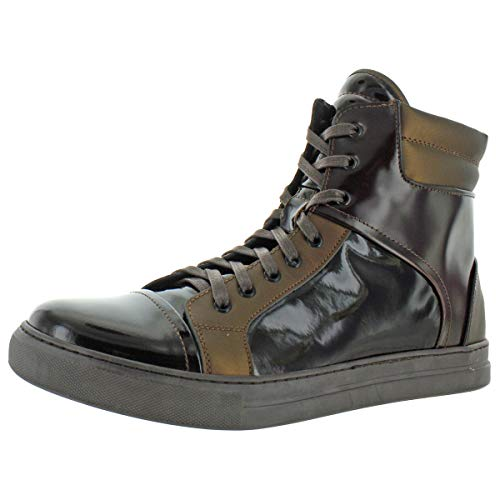 Kenneth Cole New York Mens Double Header II Mixed Media High Top Sneakers Brown