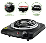 Ovente Countertop Electric Single Burner with Adjustable Temperature Control, 6 Inch, Metal Housing, Indicator Light, Non-Slip Rubber Feet, 1000-Watts, Black (BGC101B)