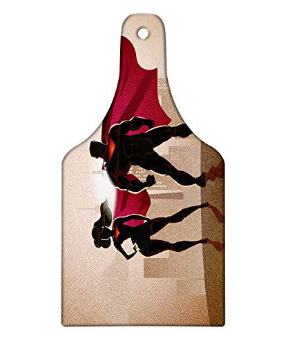 Ambesonne Superhero Cutting Board, Super Woman and Man Heroes in City Solving Crime Hot Couple in Costume, Decorative Tempered Glass Cutting and Serving Board, Wine Bottle Shape, Beige Brown Magenta -