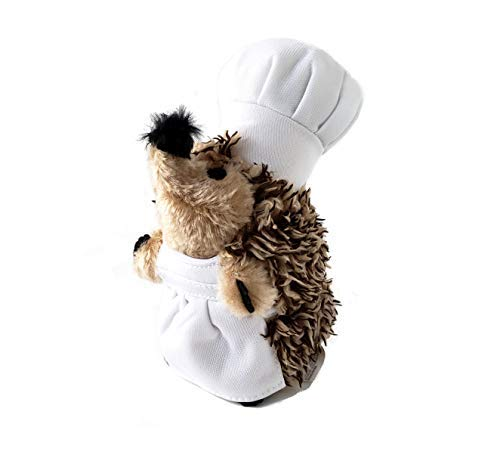 Dog Chef Hat (Chef Hedgehog Dog Toys Chewer - Chef Spike Dog Toy Squeaker & Crinkle Bottle 2 in 1 Stuffed Plushie - Hedgehog Dog Chew Toy for Small, Medium, and Large Dogs)