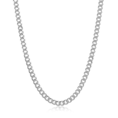 """2.8mm 925 Sterling Silver Nickel-Free Cuban Curb Link Chain, 22"""" - Made in Italy + Cleaning Cloth"""
