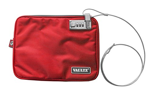 Vaultz Locking Medium Pool Pouch with Tether, 7.5 x 9 Inches, Red (VZ00814)