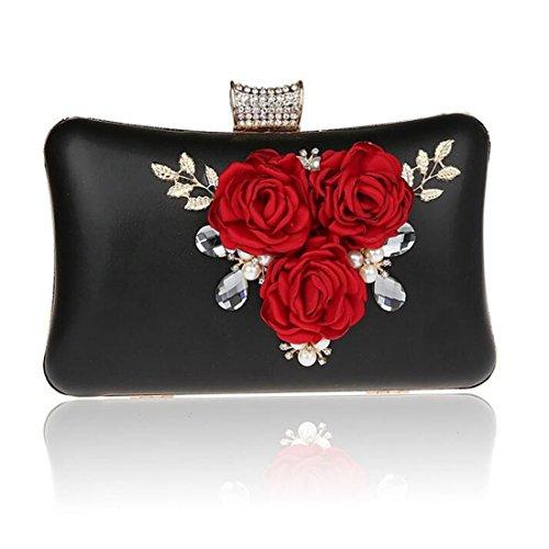 EPLAZA Women Large Capacity Flora Evening Clutch Bags Wedding Party Purse Handbags Wallet (black)