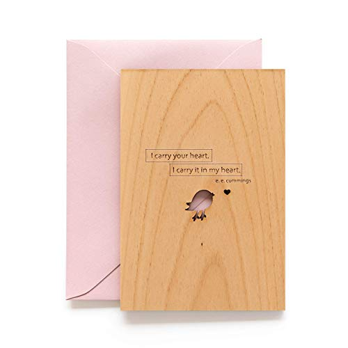 I Carry Your Heart E.E. Cummings Wood Card (Love / 5 Year Anniversary/Boyfriend or Girlfriend/Valentine's Day/Personalized Available)