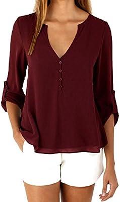 Mujer blusa elegante Otoño,Sonnena ❤ Camisa de chifón de manga larga suelta para mujer Blusa casual Tops de la camisa Blusa de moda