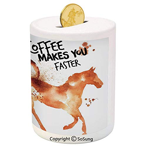 SoSung Coffee Art Ceramic Piggy Bank,Hand Drawn Style Horse Silhouette with Positive Life Message Messy Look Decorative 3D Printed Ceramic Coin Bank Money Box for Kids & Adults,Brown Orange Black