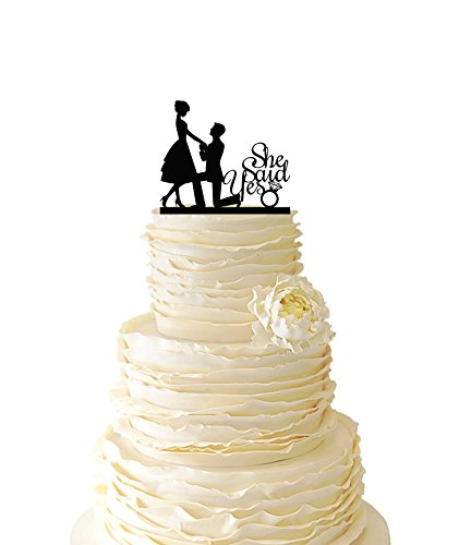 USA-SALES She Said Yes Cake Topper, Bridal Shower, Wedding Cake Decoration, by USA-SALES Seller by UsaSales