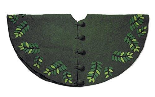 Arcadia Home TF45 Leaves Christmas Tree Skirt, Green
