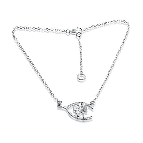Azaggi 925 Sterling Silver Anklet Wishbone Four-Leaf Clover Good Luck Symbol Lucky Charm Pendant Anklet Bracelet.This Handcrafted Ankle Bracelet is the perfect Jewelry Gift for Women Girls Teen