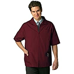 Adar Universal Men's Zippered Short Sleeve Jacket (Available in 7 colors) - 607 - Burgundy - L