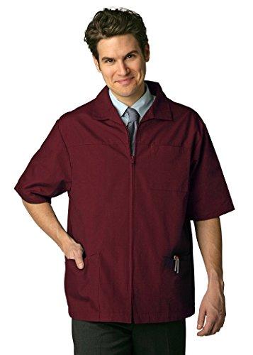 Adar Universal Men's Zippered Short Sleeve Jacket (Available in 7 colors) - 607 - Burgundy - L (Scrubs Sleeve Nursing)