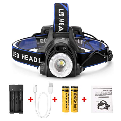 IMAGE Headlamp, 4 Lighting Modes Super Bright 1800 lumens LED Waterproof Head Torch Headlight,Adjustable Head Flashlights with 2 Pack 18650 Rechargeable Battery for Camping Hiking Fishing Running