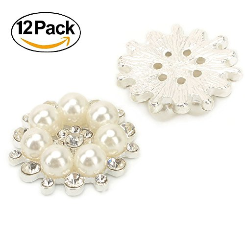 Wholesale 12 PCS Vintage Flatback Faux Pearl Flower Buttons Sew Embellishment Bulk 28MM by ALEXCRAFT