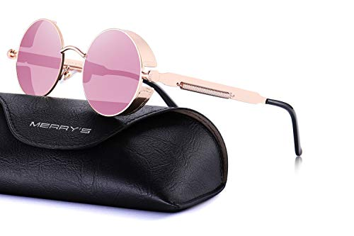 MERRY'S Gothic Steampunk Sunglasses for Women Men Round Lens Metal Frame S567(Pink Mirror, 46)
