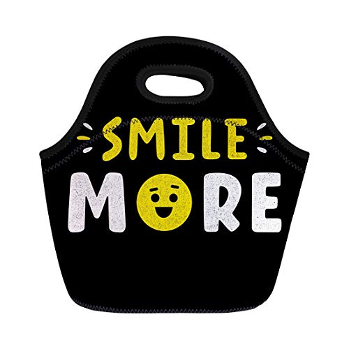 Semtomn Neoprene Lunch Tote Bag Yellow Retro Lettering Vintage Smile More for Phrase Reusable Cooler Bags Insulated Thermal Picnic Handbag for Travel,School,Outdoors,Work