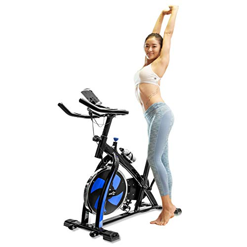 (V-FIRE Stationary Indoor Cycling Fitness Bike for Cardio Workout and Training (Blue))