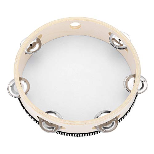 Tambourine for Church 8 inch Hand Held Drum Bell Birch Metal Jingles Percussion Musical Educational Toy Instrument for KTV Party Kids Games by Musfunny (8 inch)