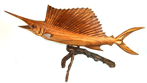 SAILFISH BEAUTIFUL HANDMADE WOOD SCULPTURE STATUE OCEAN MOUNT CARVING SPORT FISH TROPHY ONE OF A KIND (Wood Fish Carvings)