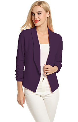 POGT Women 3/4 Sleeve Blazer Open Front Cardigan Jacket Work Office Blazer (L, Dark Purple)
