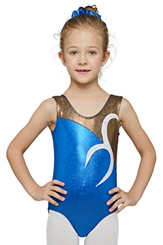 Gymnastics Leotard for Little Girl Hologram by Mdnmd (Blue and Black, Age 4-6 )