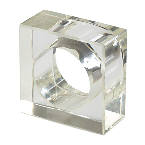 (SARO LIFESTYLE NR218.C Collection Acrylic Square Shaped Napkin Rings (Set of 4) 2