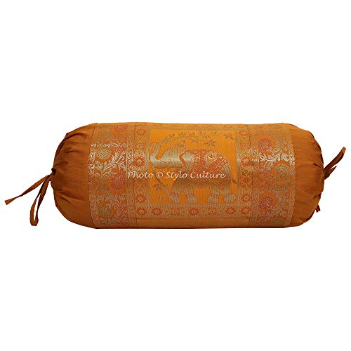 Stylo Culture Indian Polydupion Cylindrical Tubular Bolster Pillow Cover Brown Jacquard Brocade Border Elephant Large Diwan Cylinder Pillow Cushion Cover (1 Pc) | 30x15 Inches (76x38 cm) ()