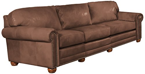 Amazon.com: Omnia Leather Dominion 3 Cushion Sofa In Leather, With Nail  Head, Empire Plum: Kitchen U0026 Dining