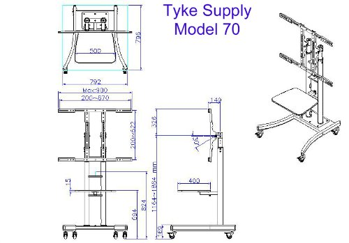 Tyke Supply Heavy Duty Commercial Mobile TV Cart with Shelf