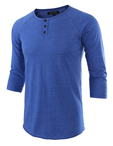 Hethcode Mens Casual Raglan Fit Soft Baseball 3 4 Sleeve Henley T Shirts Tee Heather Blue L