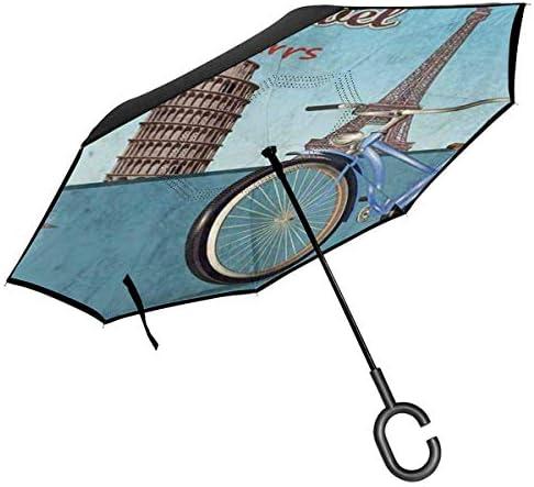 ビンテージ自転車ツアー ユニセックス二重層防水ストレート傘車逆折りたたみ傘C形ハンドル付き