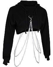 sharprepublic Damestrui met capuchon, sweatshirt, hoodie, crop top, gebreide jas, sweater met metalen ketting, capuchon, kort, buikvrij