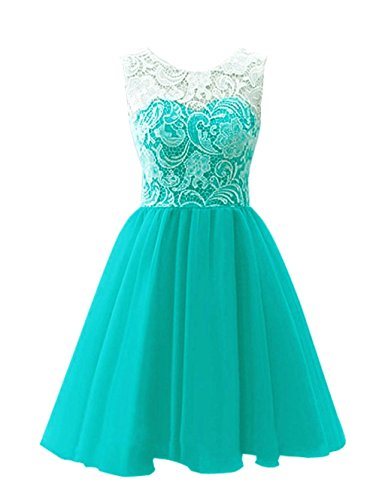 Dress Homecoming Teal (Vantexi Women's Short Lace Tulle Cocktail Homecoming Dress Teal Size 12)