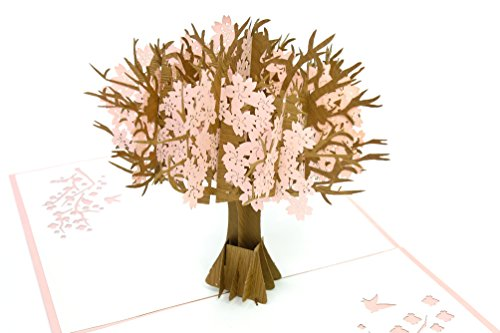 PopLife Cherry Blossom 3D Pop Up Greeting Card for All Occasions - Mother's Day Gift, Flowering Tree, Blooming Spring - Fold Flat Mailing - Easter, Happy Birthday, Graduation, Anniversary, Get Well