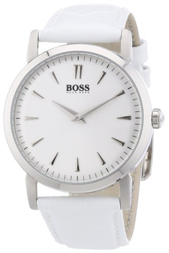 Hugo Boss Silver Dial White Leather Ladies Watch 1502300