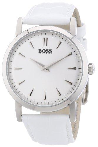 Hugo Boss Silver Dial White Leather Ladies Watch - Watch Hugo Womens Boss