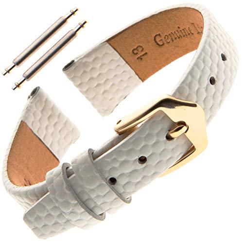 Gilden 10-14mm Ladies Flat Lizard-Grain Calfskin Leather Watch Strap F40 (13 Millimeter end Width, White, Gold-Tone Buckle)