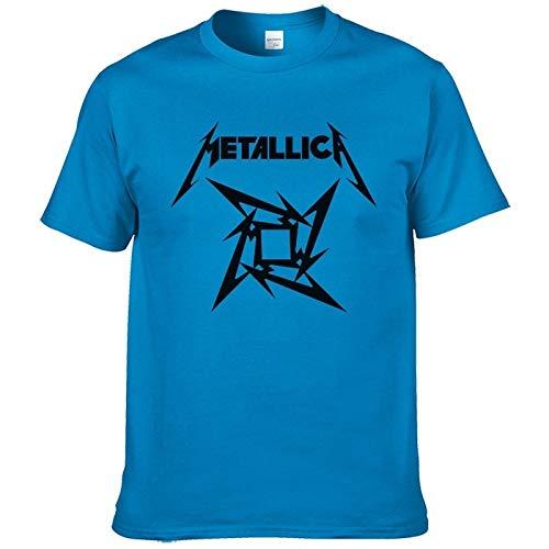 Metal Short Sleeve Tee - Hylong Summer Fashion Mens Heavy Metal Rock Metallica T Shirt Men Short Sleeve Rock Classic Cotton T Shirt European Size XS-XXL #199 Blue XL