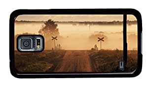 Hipster Samsung Galaxy S5 Cases fashion Railroad Crossing PC Black for Samsung S5