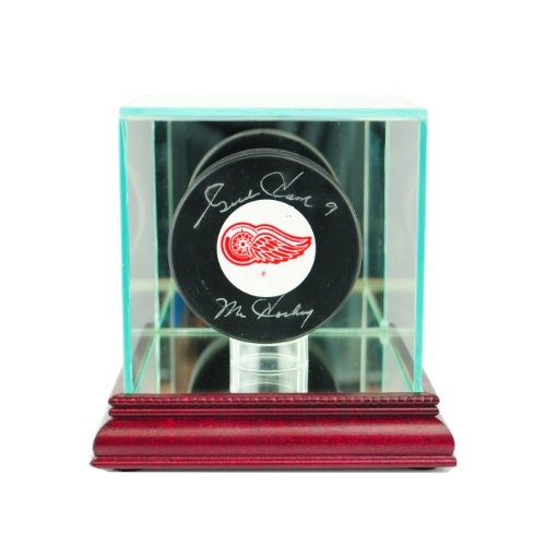 Single Hockey Puck Display Case - Perfect Cases NHL Single Hockey Puck Glass Display Case, Cherry