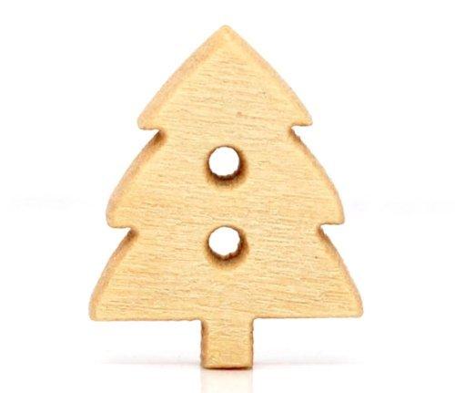 Lyanther Paquete DE 20-2 Agujeros de Botones de Madera del árbol de Navidad, para Coser, Scrapbooking, Embelishments, Artesanías, Fabricación de Joyas, Tejido de Punto, 14x12 mm