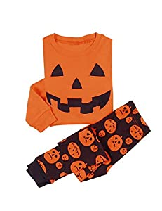 DD-CM Little Boys' Halloween Pumpkin Two Piece Pajama Set Pants PJ Set