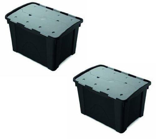 Set: 2 multifunktionale Aufbewahrungsboxen 'Unbreakable' mit 60 Liter Volumen und einem Faltdeckel, extrem robust und stapelbar - fü r Ordnung an jedem Ort