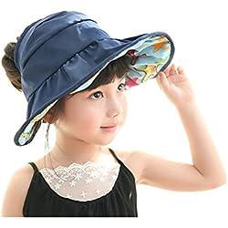 Girls Wide Brim Visor Sun Hat - UV Protection Foldable Reversible Beach Cap