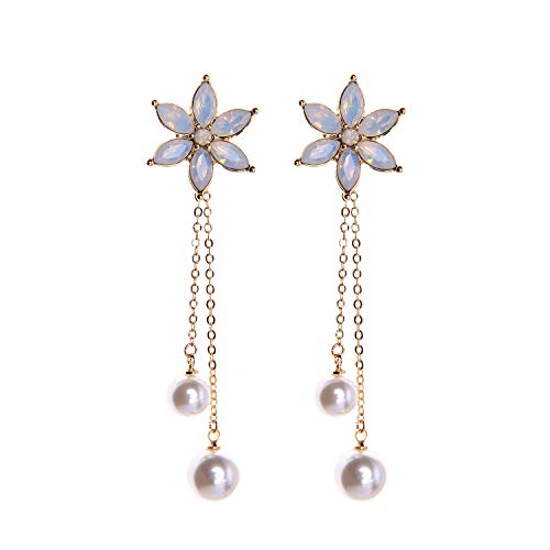 (Feximzl Women Simulated Pearl Drop Earrings Long Flower Earrings Chain Pearl Dangle Earring Girls (White))
