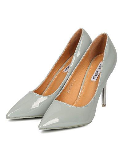 Cape Robbin Vrouwen Patent Puntige Teen Stiletto - Chic, Bruiloft, Feest - Lucite Pump - Ge31 By Grey
