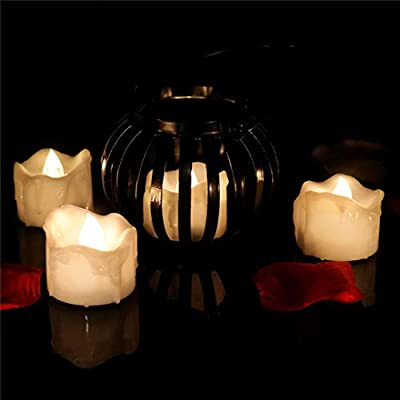 12pcs Warm White Flickering Tea Lights Battery Operated, Flameless Led Tealight Candles for Wedding Holiday Centerpiece Reception