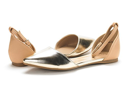 DREAM PAIRS Damen FLAPOINTED-New D'Orsay Ballerinas Schuhe Nacktes Gold