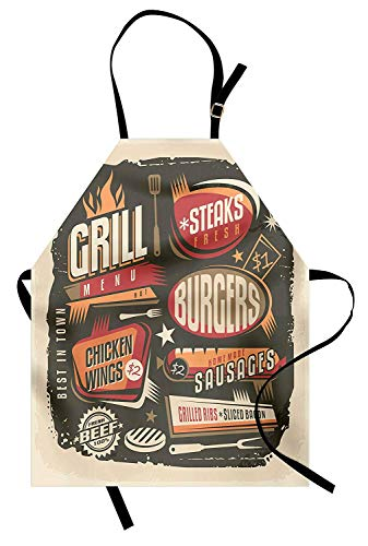 BBQ Party Apron, Grill Menu Design with Steaks Burgers Wings Sausages Ribs and Bacon Retro Effect, Unisex Kitchen Bib Apron with Adjustable Neck for Cooking Baking Gardening, Multicolor -