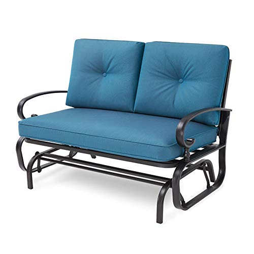 Incbruce Outdoor Swing Glider Rocking Chair Patio Bench for 2 Person, Garden Loveseat Seating Patio Wrought Iron Chair Set W/Cushion, Navy Blue